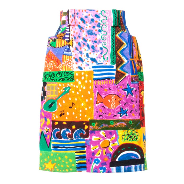Amen Wardy  Vintage 1980s Bright Novelty Print Quilted Skirt 1