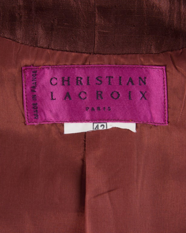 Christian Lacroix Brown Silk Tuxedo Tail Jacket- Vintage 80s 1980s 2