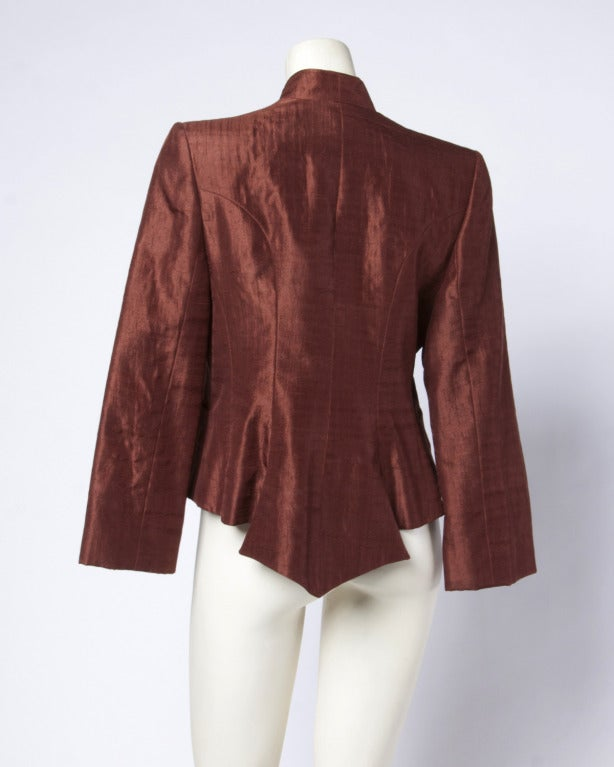 Christian Lacroix Brown Silk Tuxedo Tail Jacket- Vintage 80s 1980s 3