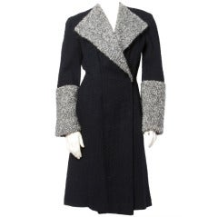 Vintage 1940s 40s Gray + Black Boucle Wool Fit and Flare Princess Coat