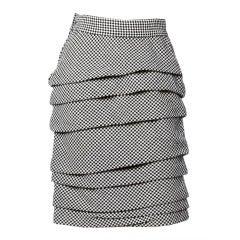 Gianni Versace Vintage 1980s Black + White Checkered Asymmetric Pleated Skirt