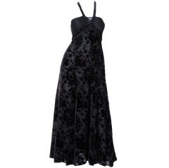 Sonia Rykiel 1990s Black Burnout Velvet Halter Cut Out Lace Maxi Dress