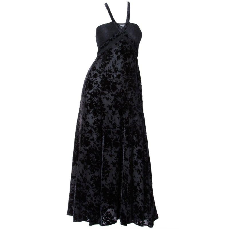 Sonia Rykiel 1990s Black Burnout Velvet Halter Cut Out Lace Maxi Dress