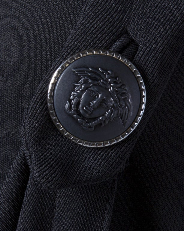 Women's Gianni Versace Couture Vintage 1990s Draped Medusa Button Black Cocktail Dress For Sale