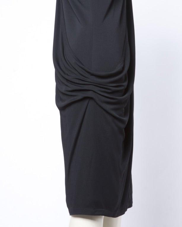 Gianni Versace Couture Vintage 1990s Draped Medusa Button Black Cocktail Dress For Sale 1