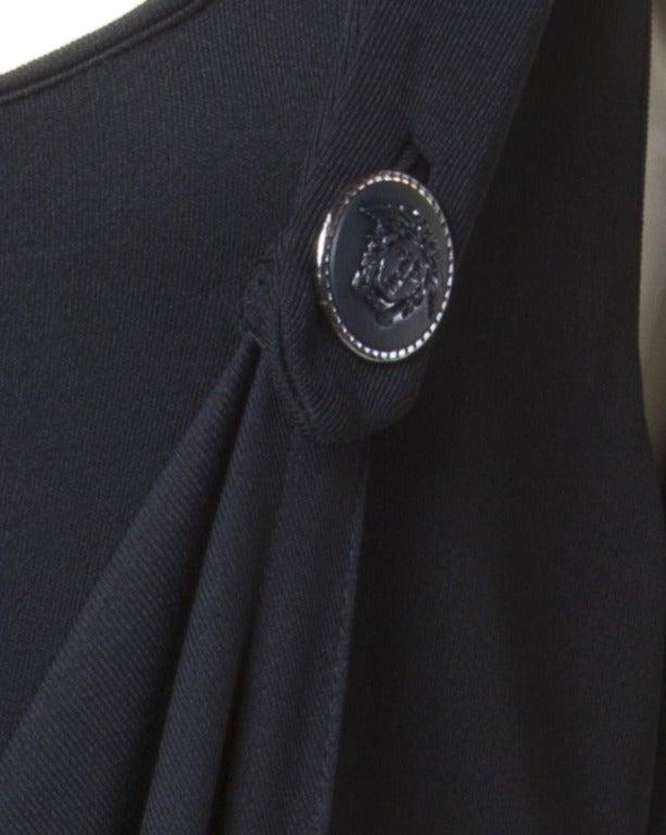 Gianni Versace Couture Vintage 1990s Draped Medusa Button Black Cocktail Dress For Sale 3