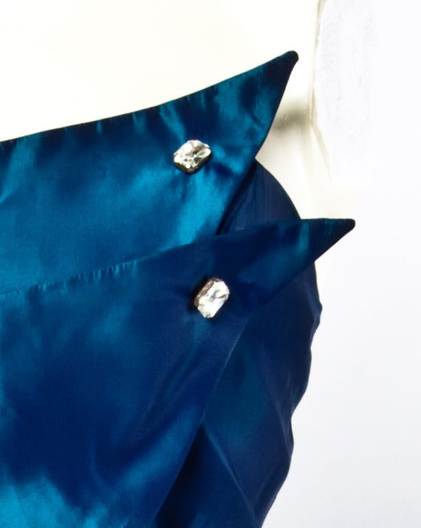 1950s Vintage Blue Taffeta Strapless Cocktail Dress In Excellent Condition For Sale In Sparks, NV