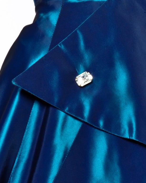 1950s Vintage Blue Taffeta Strapless Cocktail Dress 5