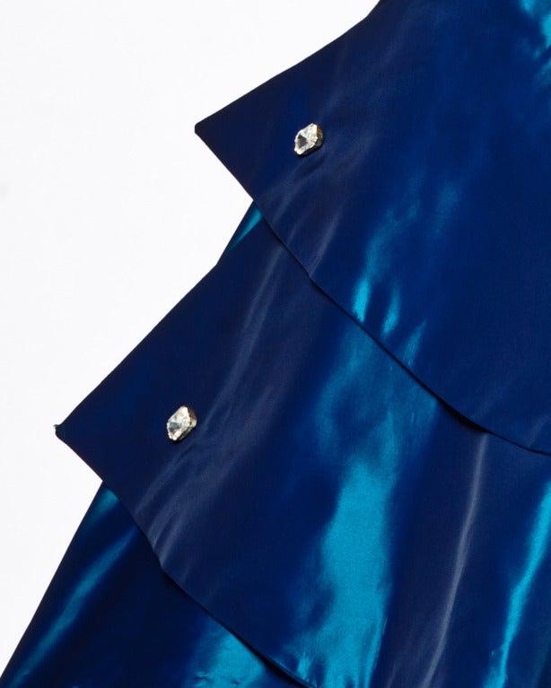 1950s Vintage Blue Taffeta Strapless Cocktail Dress 6