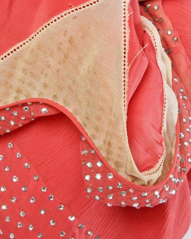 Vintage 1920s Deco Coral Sheer 3-Layer Silk Drop-Waist Rhinestone Flapper Dress 10