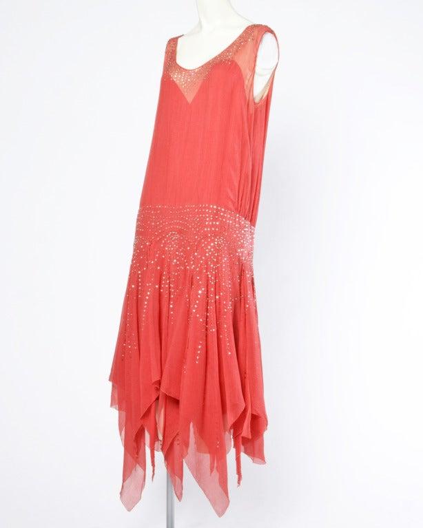 Vintage 1920s Deco Coral Sheer 3-Layer Silk Drop-Waist Rhinestone Flapper Dress 2