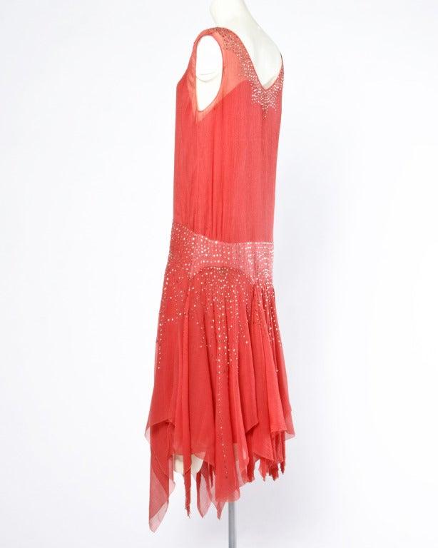 Vintage 1920s Deco Coral Sheer 3-Layer Silk Drop-Waist Rhinestone Flapper Dress 3