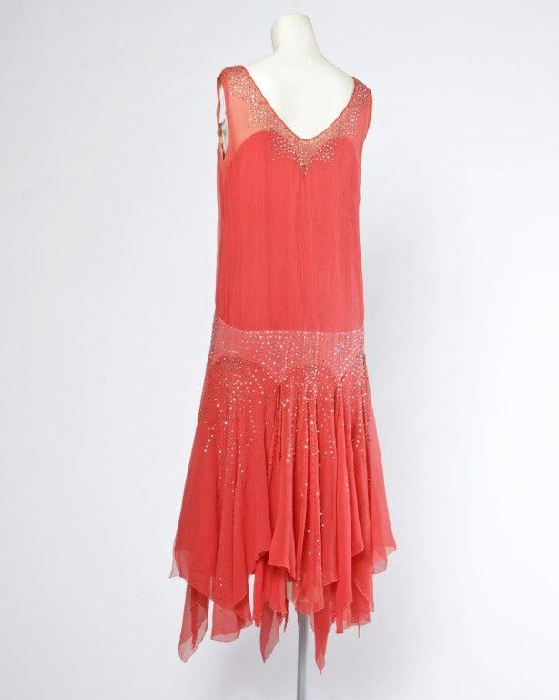 Vintage 1920s deco coral sheer 3 layer silk drop waist rhinestone