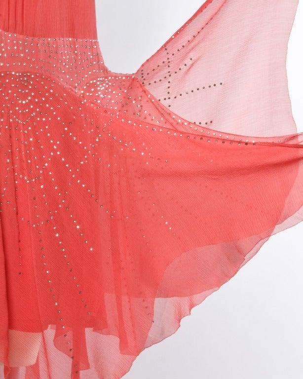 Vintage 1920s Deco Coral Sheer 3-Layer Silk Drop-Waist Rhinestone Flapper Dress 5