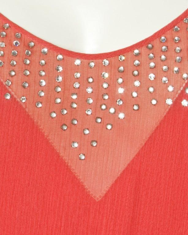 Vintage 1920s Deco Coral Sheer 3-Layer Silk Drop-Waist Rhinestone Flapper Dress 7