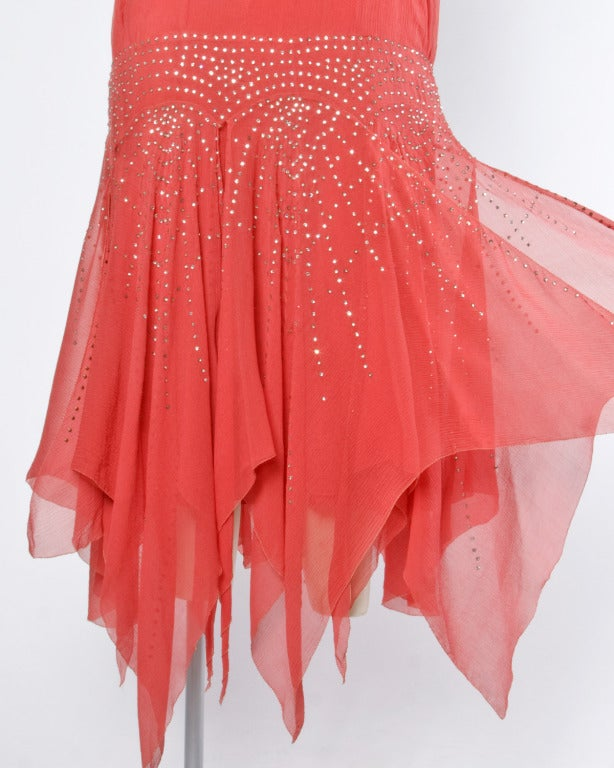 Vintage 1920s Deco Coral Sheer 3-Layer Silk Drop-Waist Rhinestone Flapper Dress 8