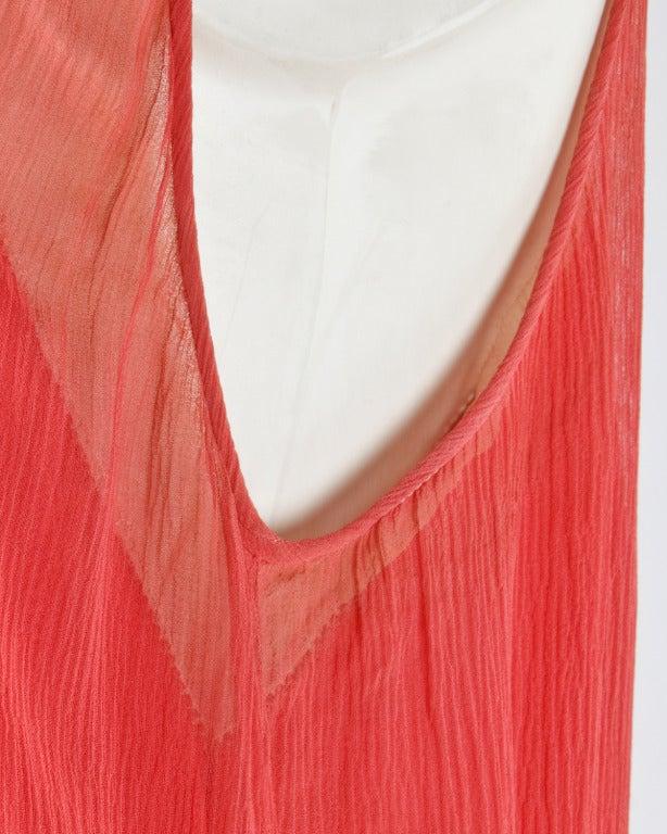 Vintage 1920s Deco Coral Sheer 3-Layer Silk Drop-Waist Rhinestone Flapper Dress 9