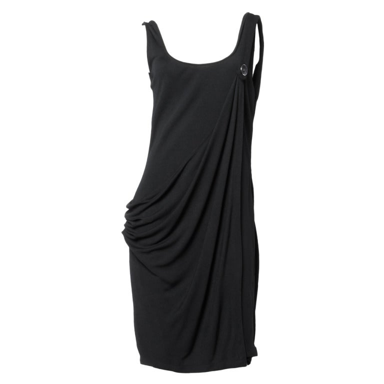 Gianni Versace Couture Vintage 1990s Draped Medusa Button Black Cocktail Dress