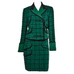 Gianni Versace Couture Vintage 1990s Green Boucle Wool Jacket + Skirt Suit Set