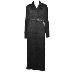 Norma Kamali Omo Vintage 1980s 80s Black Fringe Jacket Skirt 2-Piece Suit Set