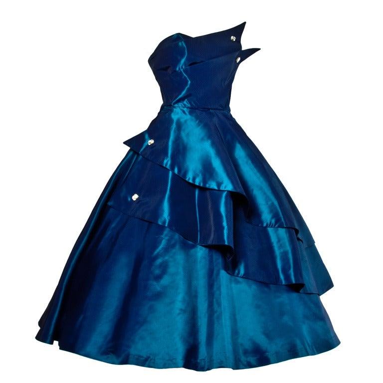 1950s Vintage Blue Taffeta Strapless Cocktail Dress 1