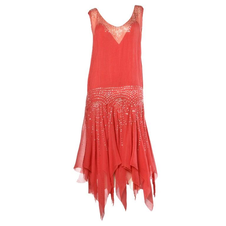 Vintage 1920s Deco Coral Sheer 3-Layer Silk Drop-Waist Rhinestone Flapper Dress 1