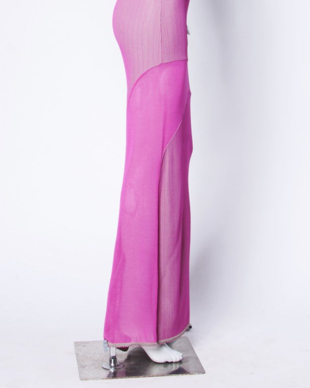 Herve Leger 1990s 90s Pink + Gray Knit Cut Out Sheer Mesh Bandage Maxi Dress In Excellent Condition For Sale In Sparks, NV