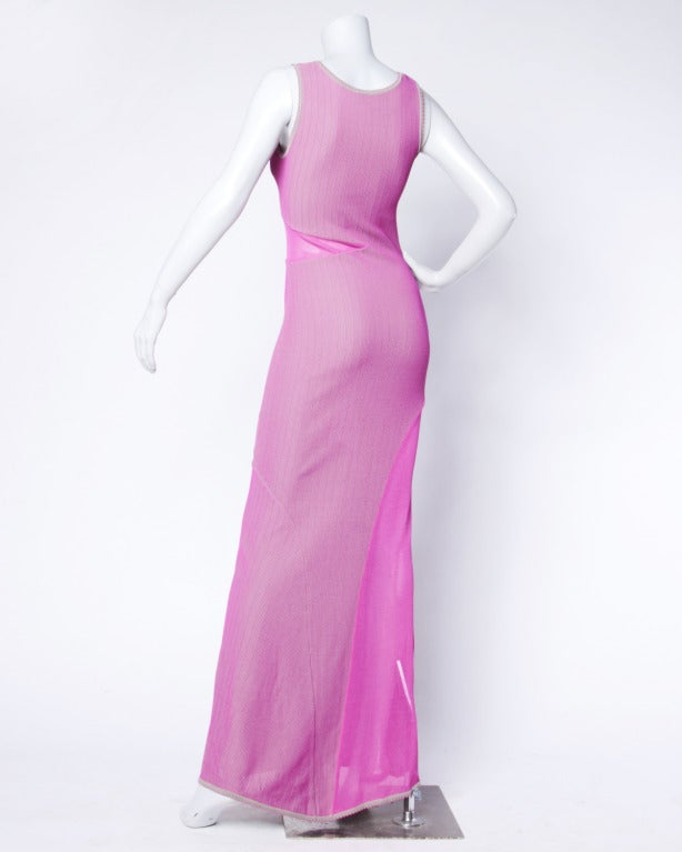 Women's Herve Leger 1990s 90s Pink + Gray Knit Cut Out Sheer Mesh Bandage Maxi Dress For Sale