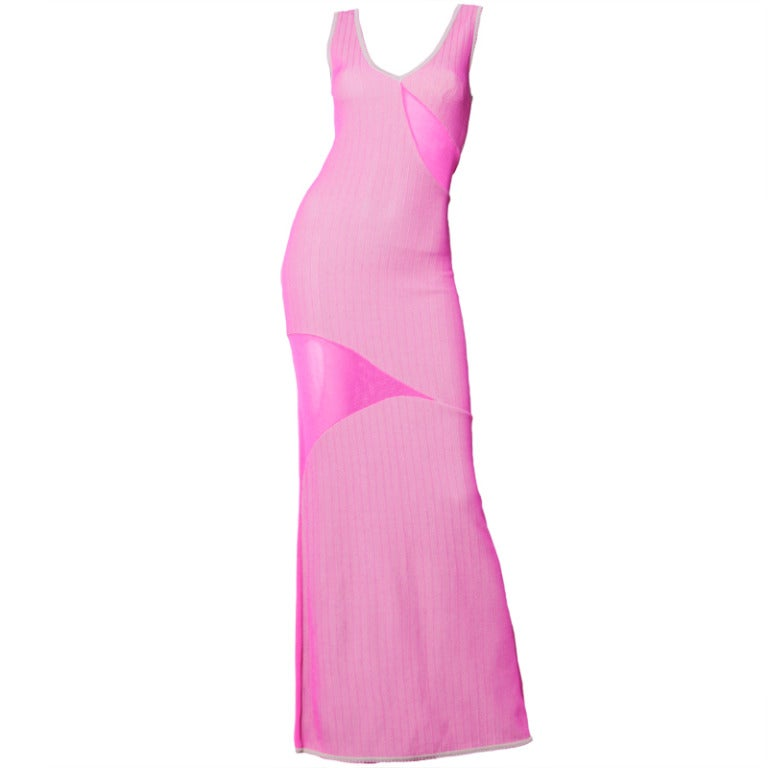 Herve Leger 1990s 90s Pink + Gray Knit Cut Out Sheer Mesh Bandage Maxi Dress For Sale