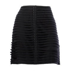 Krizia Vintage Black 3D Avant Garde Rivet / Shoestring Striped Mini Skirt, 1990s
