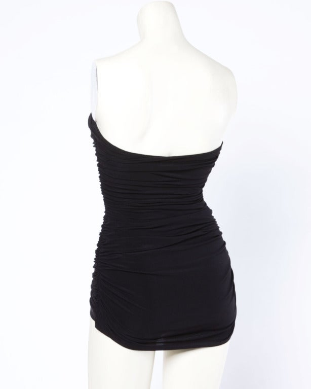 Norma Kamali Omo Vintage 1980s 80s Black Cut Out Ruched Swimsuit or Bodysuit 8