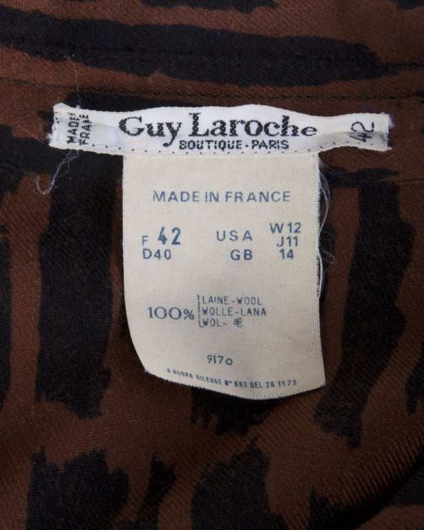 Guy Laroche Vintage 1980s 80s Brown + Black Wool Print Shirt Dress In Excellent Condition For Sale In Sparks, NV