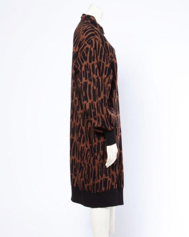 Women's Guy Laroche Vintage 1980s 80s Brown + Black Wool Print Shirt Dress For Sale