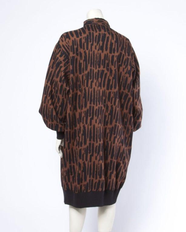 Guy Laroche Vintage 1980s 80s Brown + Black Wool Print Shirt Dress For Sale 1
