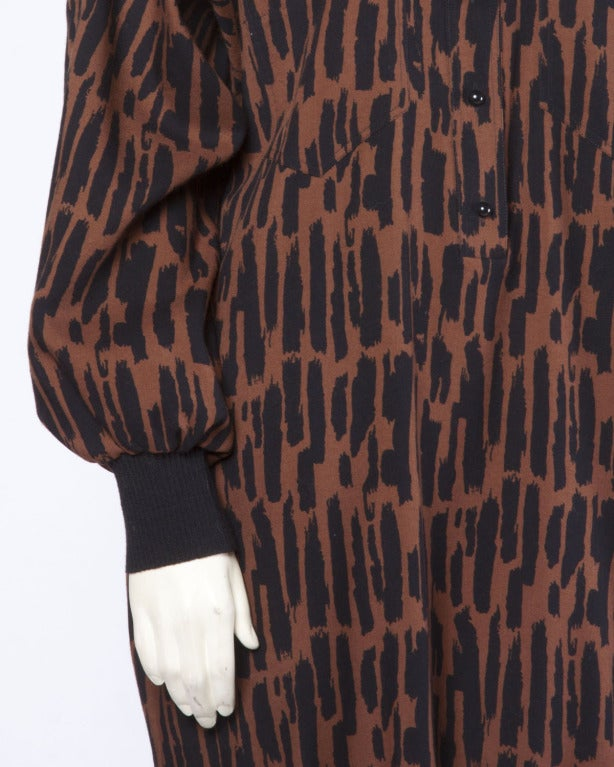 Guy Laroche Vintage 1980s 80s Brown + Black Wool Print Shirt Dress For Sale 2