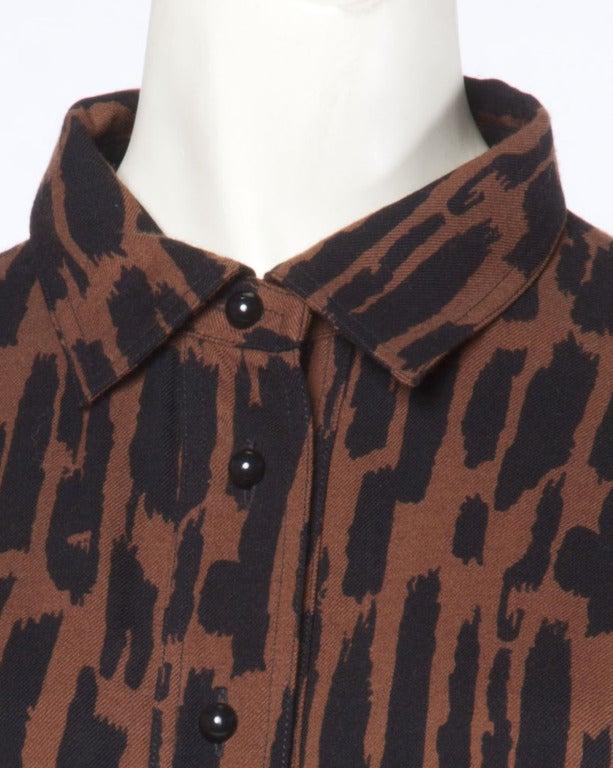 Guy Laroche Vintage 1980s 80s Brown + Black Wool Print Shirt Dress For Sale 3