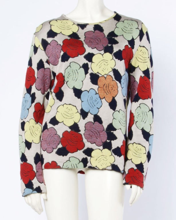 Missoni Vintage Floral Pattern Knit Pullover Sweater Top 2