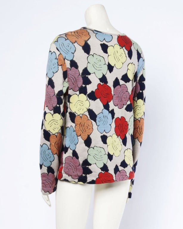 Missoni Vintage Floral Pattern Knit Pullover Sweater Top 4