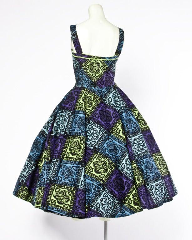 Vintage 1950s 50s Hawaiian Tiki Print Green Blue & Purple Full Sweep Circle Dress 2