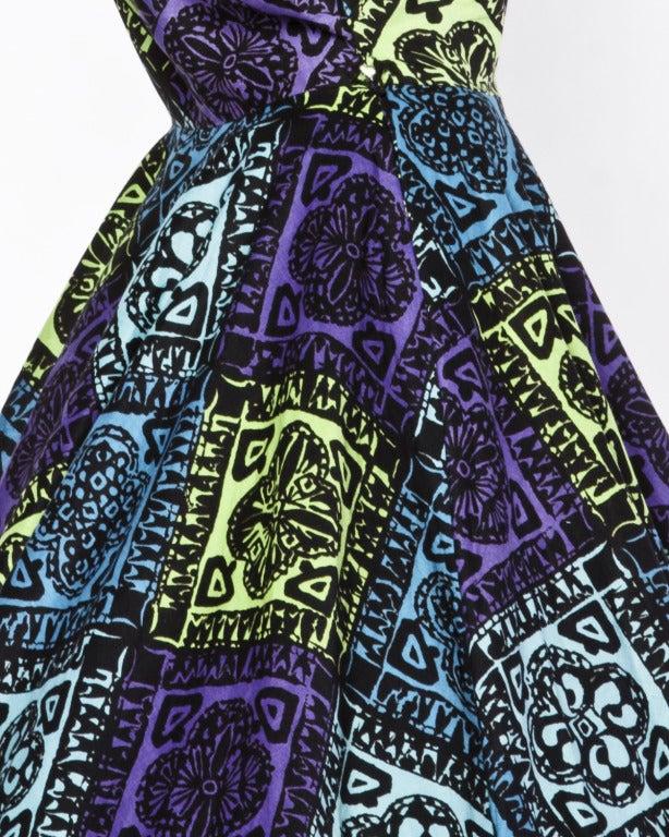 Vintage 1950s 50s Hawaiian Tiki Print Green Blue & Purple Full Sweep Circle Dress 5
