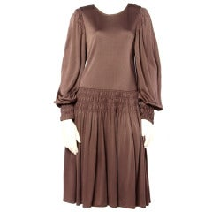 Bill Blass for Saks Fifth Avenue Ruched Brown Jersey Knit Dress
