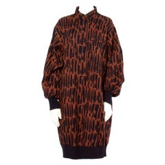 Guy Laroche Vintage 1980s 80s Brown + Black Wool Print Shirt Dress