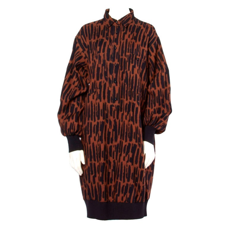 Guy Laroche Vintage 1980s 80s Brown + Black Wool Print Shirt Dress