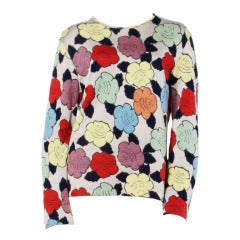 Missoni Vintage Floral Pattern Knit Pullover Sweater Top