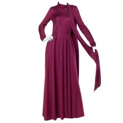 Giorgio Sant'Angelo Vintage 1970s 70s Long Maxi Dress with Attached Scarf