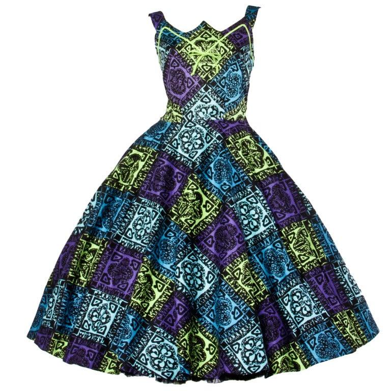 Vintage 1950s 50s Hawaiian Tiki Print Green Blue & Purple Full Sweep Circle Dress 1