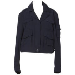 Moschino 1990s 90s Vintage Wool Flight Jacket with Pockets