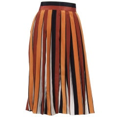 Givenchy Nouvelle Boutique 1970s 70s Pleated Silk Striped Color Block Skirt