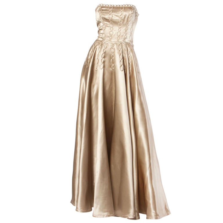 Vintage 1940s 40s Heavy Satin Custom Strapless Gown/ Dress with Cord Detailing 1