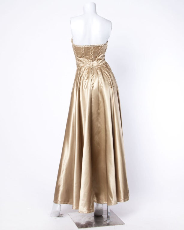 Vintage 1940s 40s Heavy Satin Custom Strapless Gown/ Dress with Cord Detailing 2